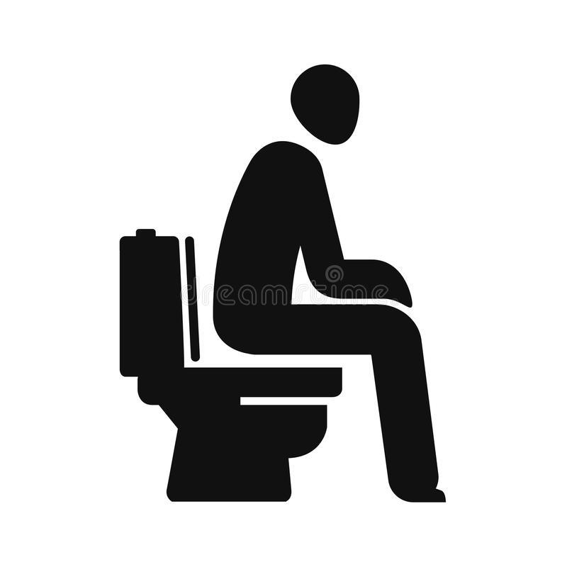 WC, Funny Symbol. Man Sitting On Toilet. Vector