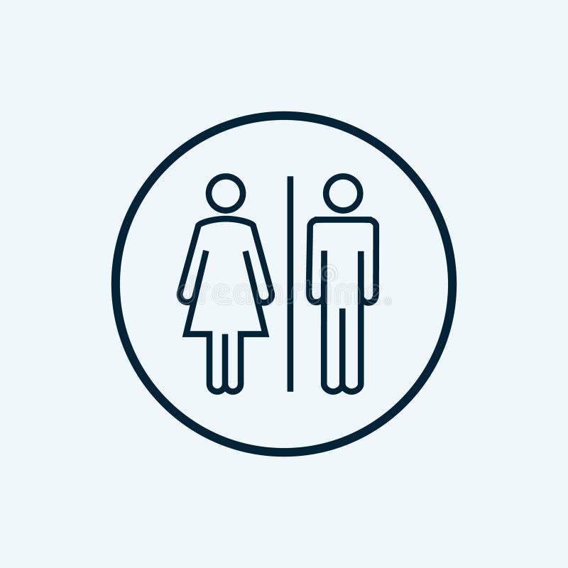 WC-het pictogram van het tekentoilet Het mannelijke en vrouwelijke symbool van de toiletbadkamers WC ge?soleerd lijnpictogram royalty-vrije illustratie