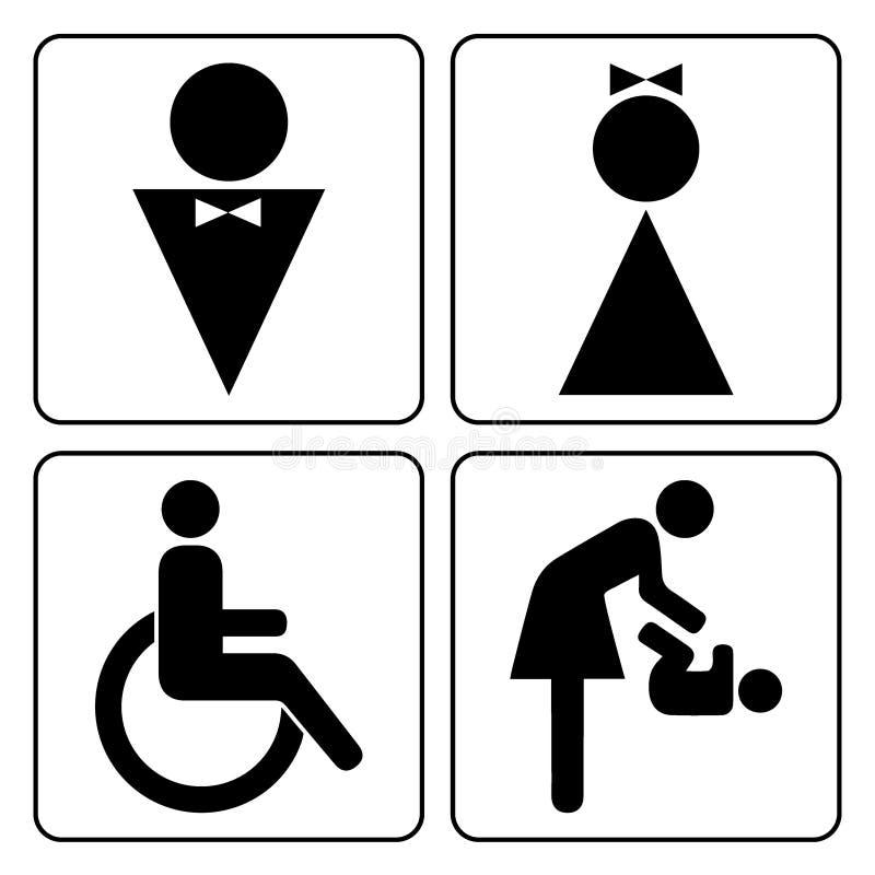 wc icons set stock vector illustration of disabled. Black Bedroom Furniture Sets. Home Design Ideas