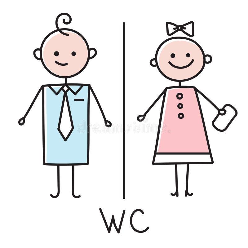 WC-Ikone Toilettentürschildikone Badezimmerplatte Männer und Frauen WC-Zeichen für Toilette Farbige Skizze auf weißem Hintergrund vektor abbildung