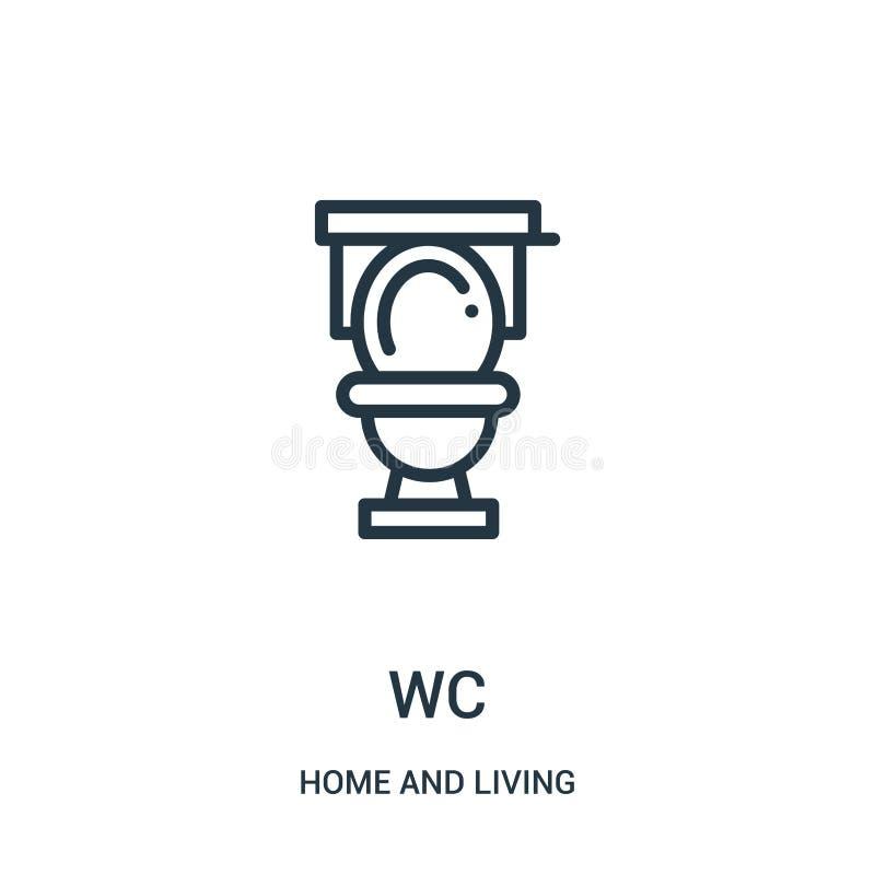 WC-Ikonenvektor vom Haus und von lebender Sammlung Dünne Linie WC-Entwurfsikonen-Vektorillustration Lineares Symbol für Gebrauch  lizenzfreie abbildung
