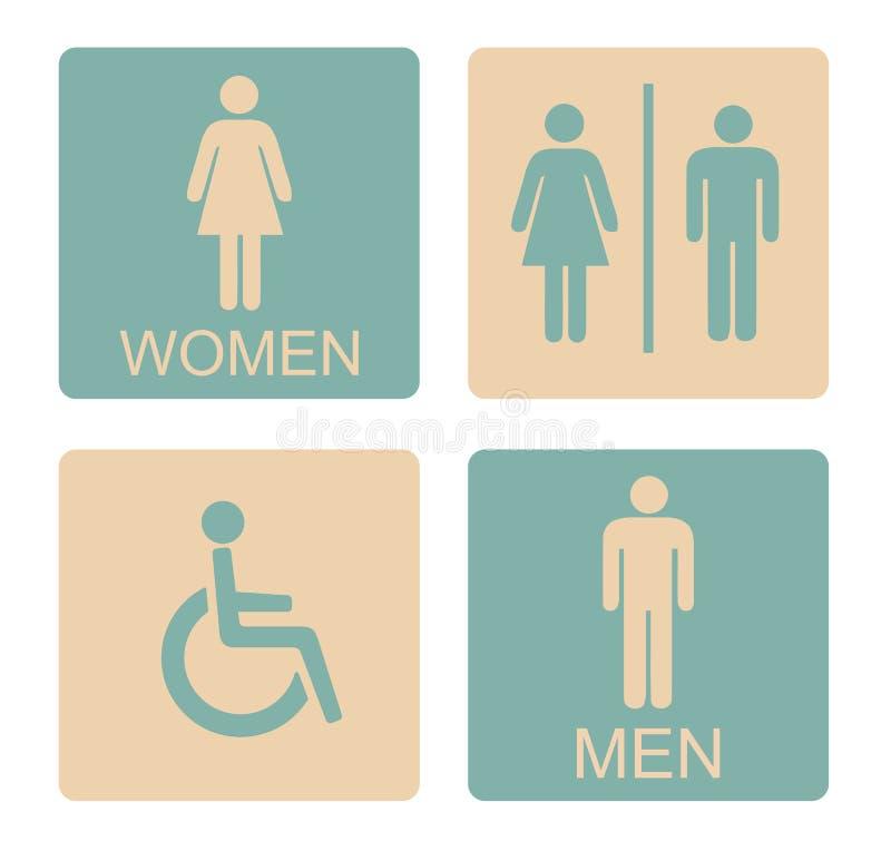 WC ikony Męski Żeński Nieważny royalty ilustracja