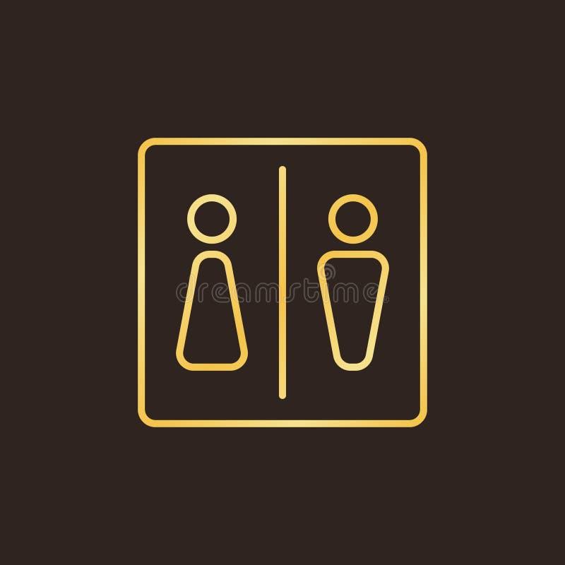 WC lub Toaletowego wektorowego pojęcia konturu złota ikona royalty ilustracja