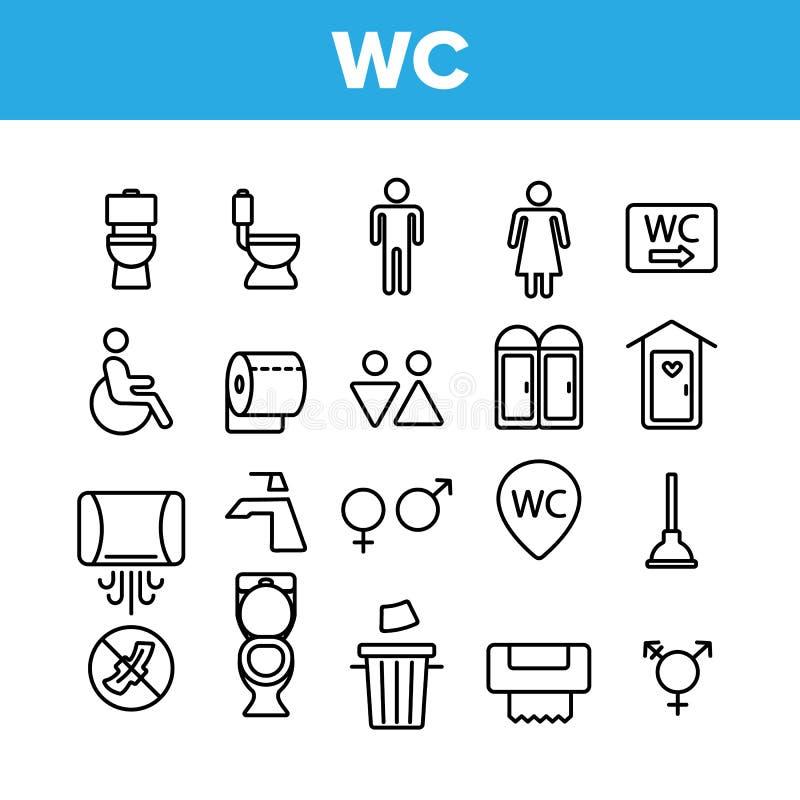 WC, Openbare Badkamers, Geplaatste Toilet Vector Lineaire Pictogrammen royalty-vrije illustratie