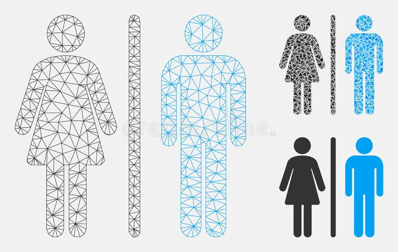 WC Persons Vector Mesh Carcass Model and Triangle Mosaic Icon. Mesh WC persons model with triangle mosaic icon. Wire carcass polygonal network of WC persons vector illustration