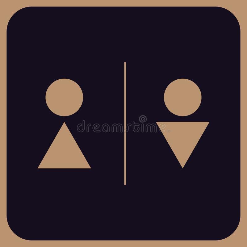 WC profissional moderno do vetor - ícones da placa da porta do toalete ilustração stock