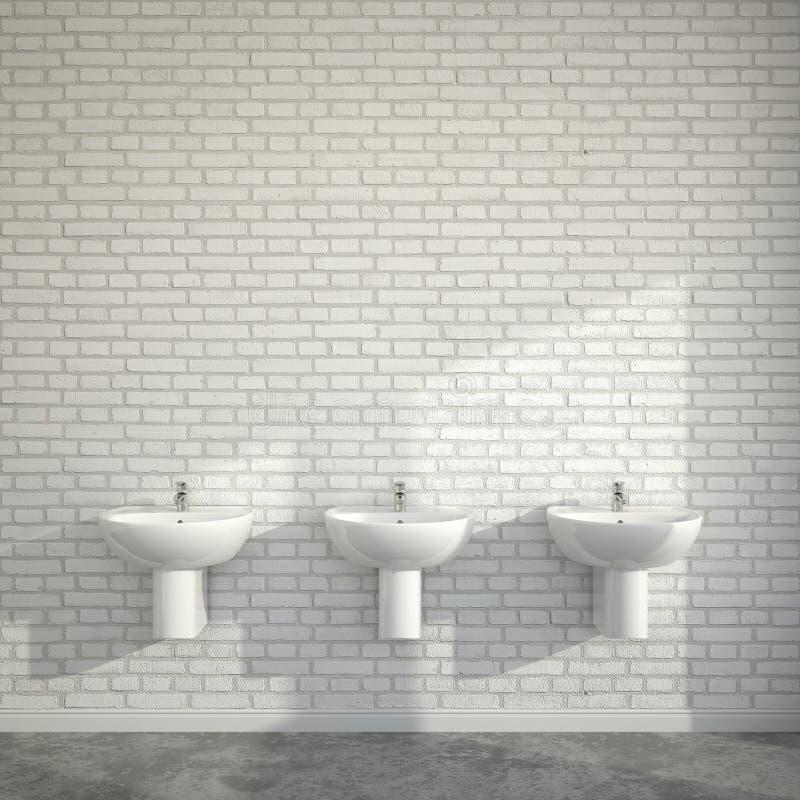 WC-Raum mit Waschbecken an der Wand von Ziegelsteinen stock abbildung