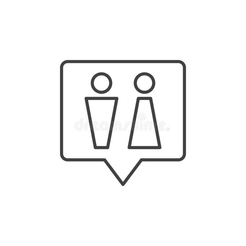 WC speech bubble vector outline icon. Toilet linear sign stock illustration