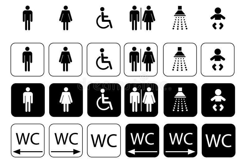 WC-symbolen voor toiletteken, de reeks van het toiletpictogram stock afbeeldingen