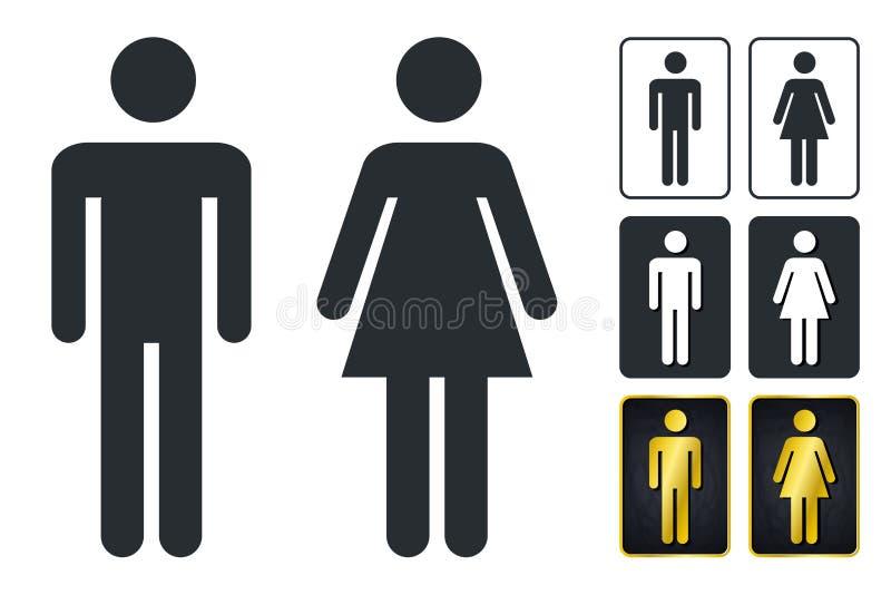 Wc-tecken för toalett Symboler för toalettdörrplatta Män och kvinnor Vec royaltyfri illustrationer