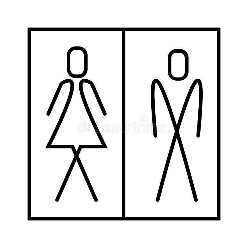 Wc-tecken-, man- och kvinnasymbol - eps tio royaltyfri illustrationer