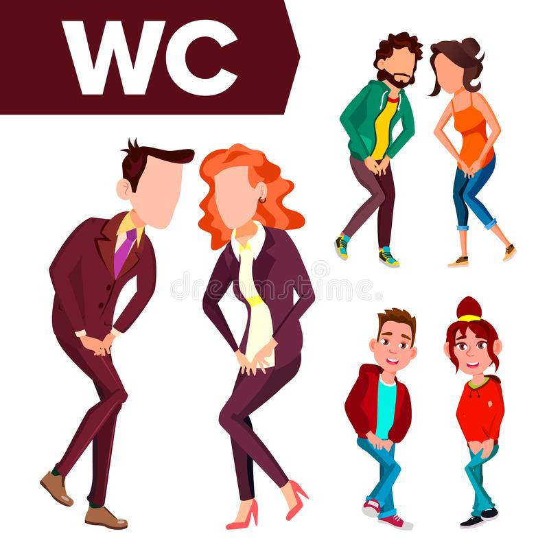 WC-Tekenvector Het Ontwerpelement van de deurplaat Man, vrouw Wijfje, Mannetje Toiletpictogram Richtingteken Geïsoleerd Beeldverh stock illustratie