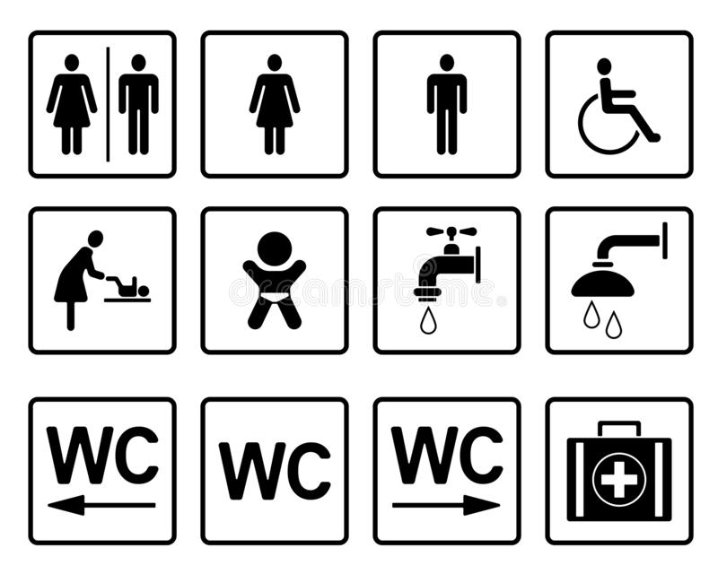 Wc- & toalettPictograms - Iconset vektor illustrationer