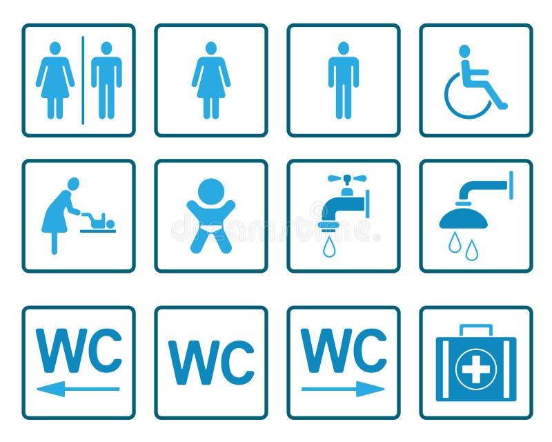 Wc- & toalettPictograms - Iconset royaltyfri illustrationer