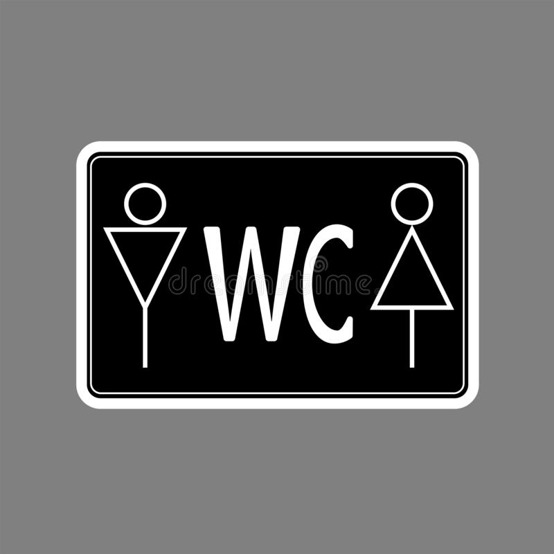 WCtoilet icon white thin line on black background , man and woman - vector illustration stock illustration
