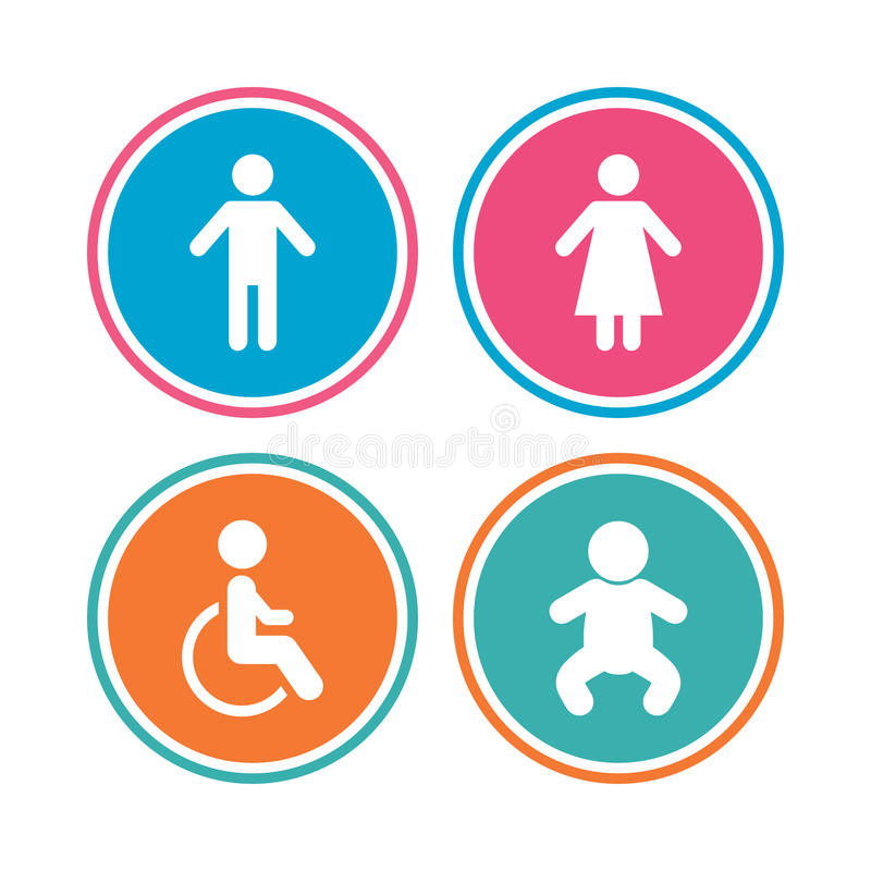WC toilet icons. Human male or female signs. royalty free illustration
