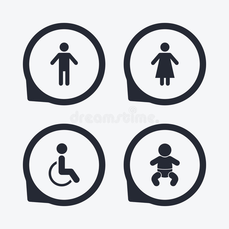 Download WC Toilet Icons Human Male Or Female Signs Stock Vector