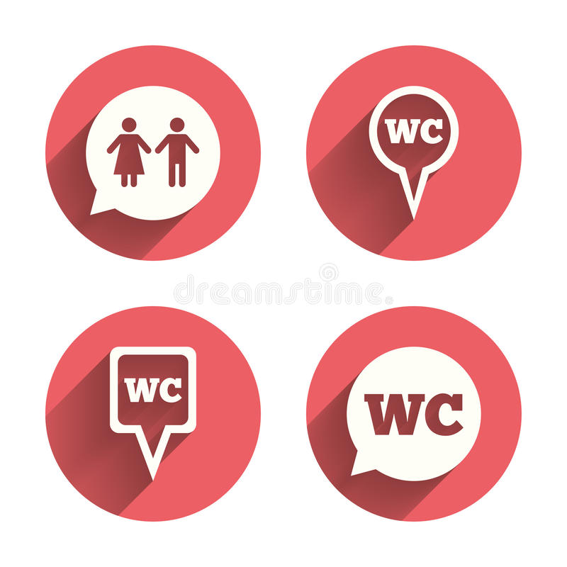 WC Toilet pointer icons. Gents and ladies room. Signs. Man and woman speech bubble symbols. Pink circles flat buttons with shadow. Vector stock illustration