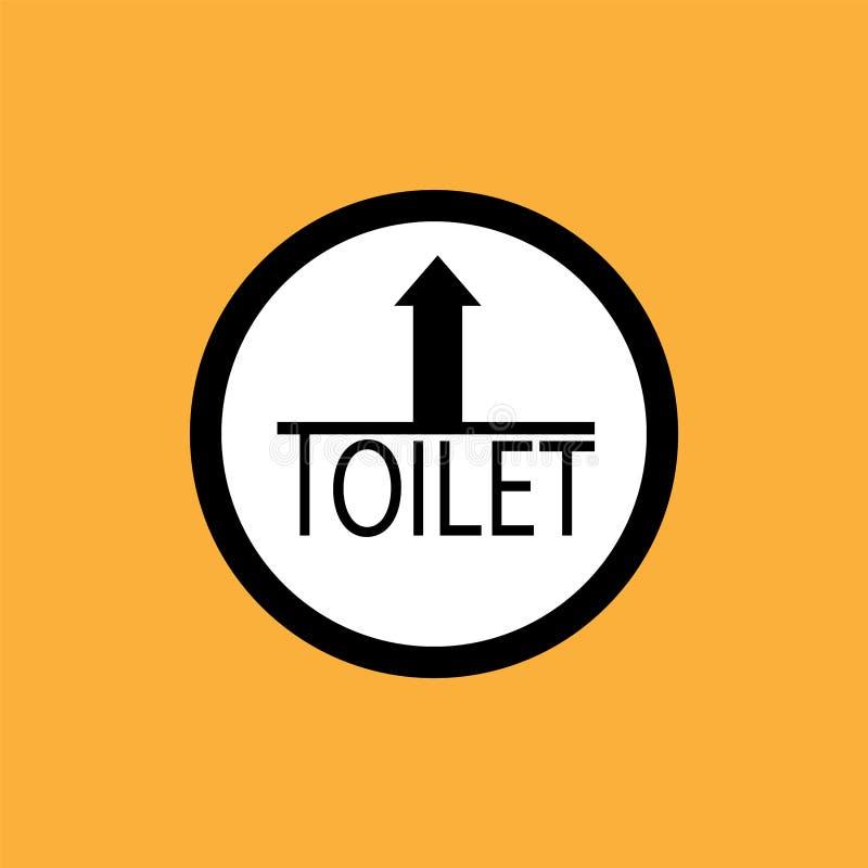WCtoilet round icon with arrow, black thin line on white background - vector illustration stock illustration