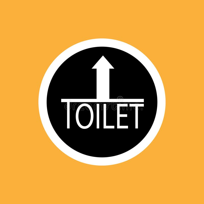 WCtoilet round icon with arrow, white thin line on black background - vector illustration vector illustration
