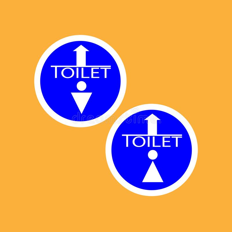 WCtoilet round icon with arrow, white thin line on blue background , man and woman - vector illustration. Eps 10 stock illustration