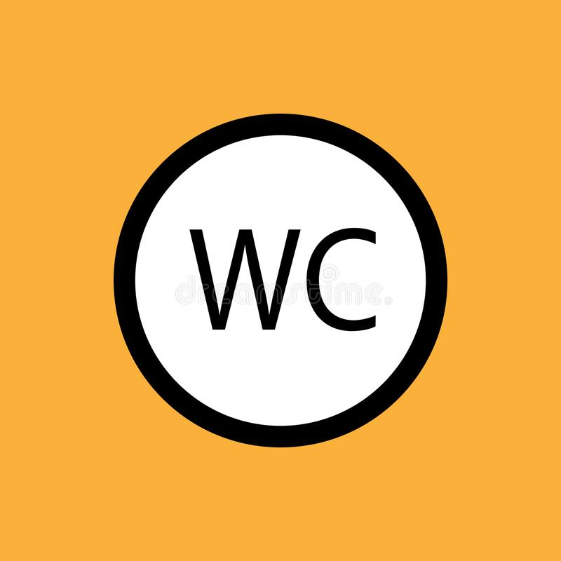 WCtoilet round icon, black thin line on white background - eps ten vector illustration