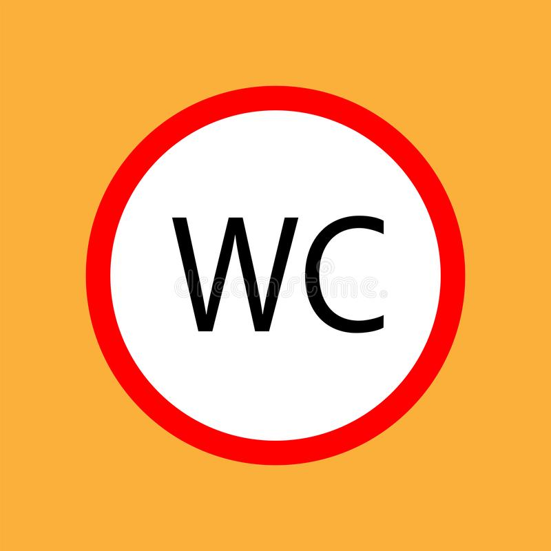 WCtoilet round icon red thin line on white background - vector illustration royalty free illustration
