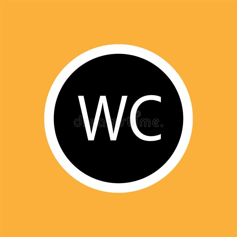 WCtoilet round icon, white thin line on black background - vector illustration stock illustration
