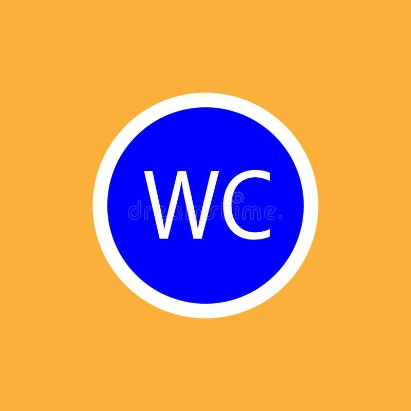 WCtoilet round icon, white thin line on blue background - vector illustration stock illustration