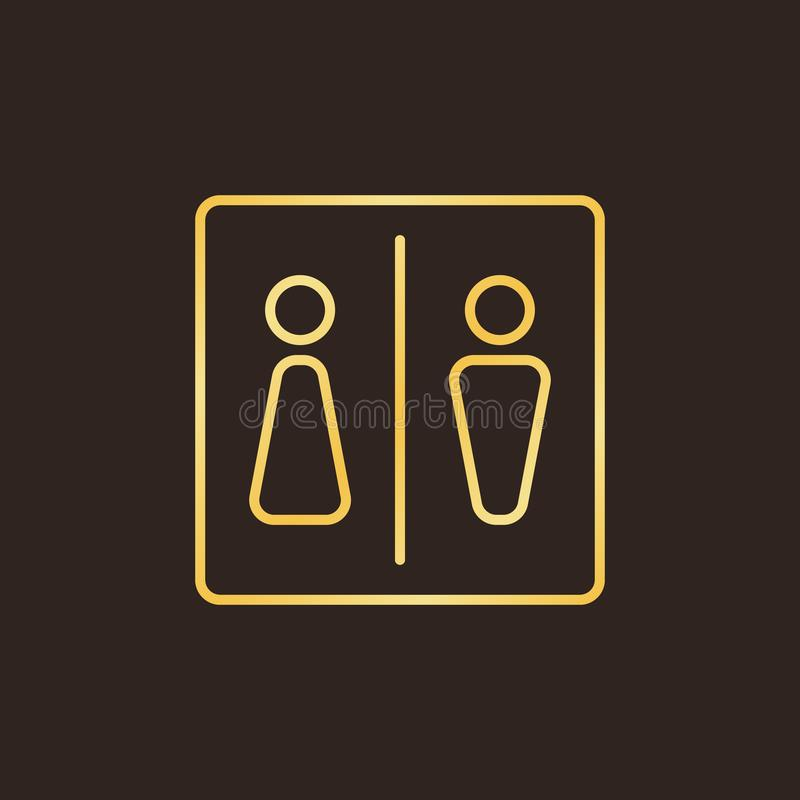 WC or Toilet vector concept golden outline icon royalty free illustration