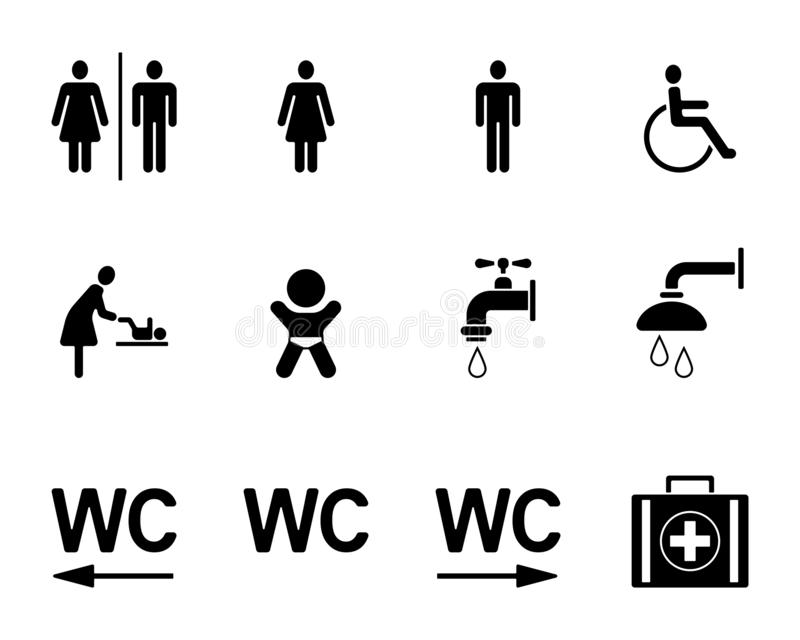 WC & Toilets Pictograms - Iconset stock illustration
