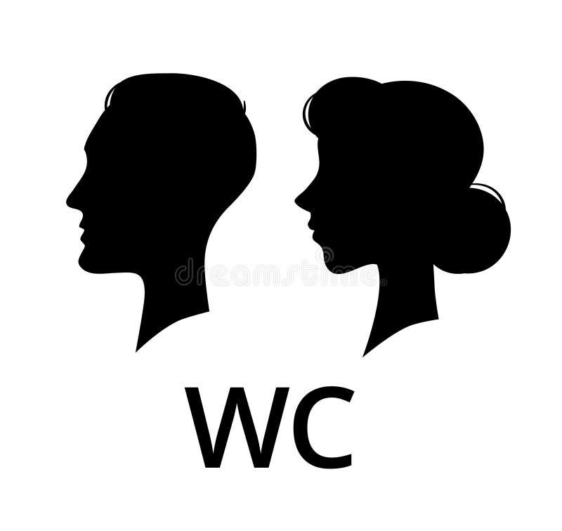 WC-toiletteken Het mannelijke en vrouwelijke toilet van het gezichtsprofiel Dames en mijnherenbadkamers vectorpictogram stock illustratie