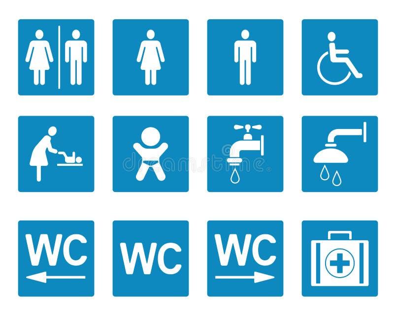 WC- u. Toiletten-Piktogramme - Iconset lizenzfreie abbildung