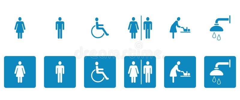 WC- u. Toiletten-Piktogramme - Iconset stock abbildung