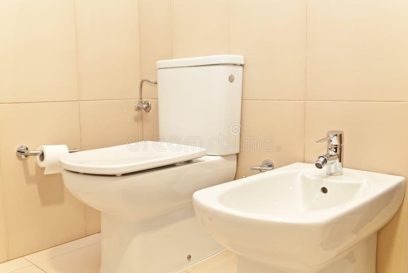 WC van het toilet en Bidet royalty-vrije stock fotografie