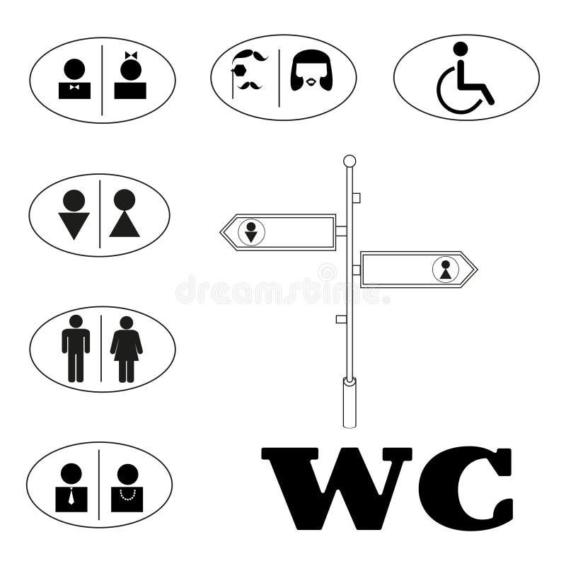 WC znak dla toalety Toaletowe drzwi talerza ikony ilustracja wektor