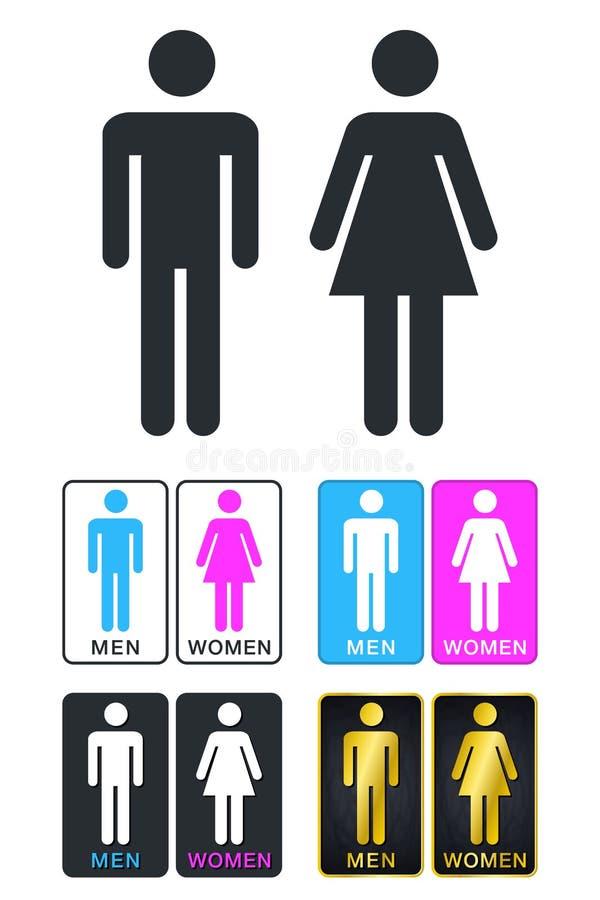 WC znak dla toalety Toaletowe drzwi talerza ikony Mężczyzna Vec i kobiety ilustracja wektor