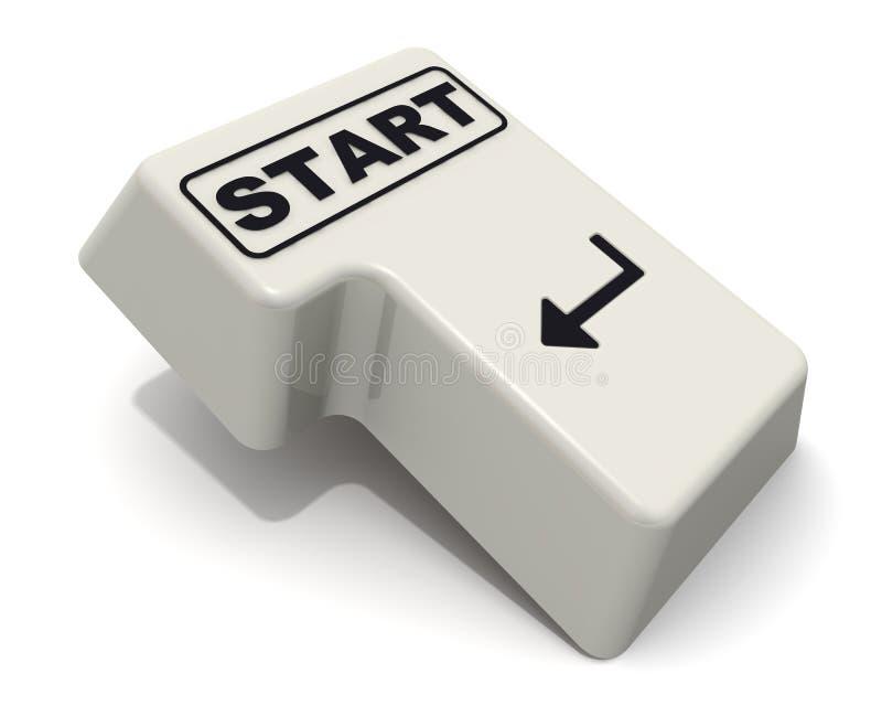 Wchodzić do klucz klawiatura przylepiający etykietkę początek ilustracja wektor