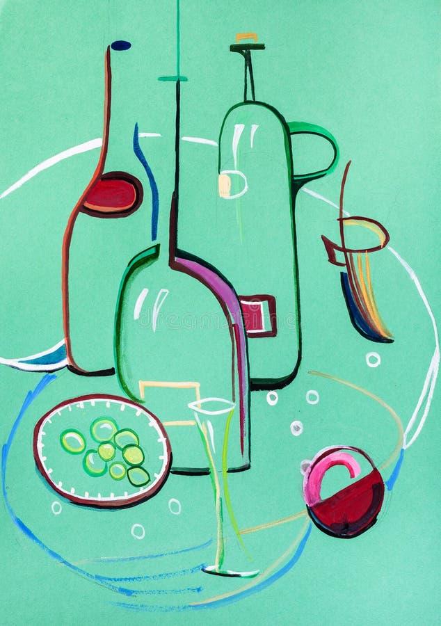 Wciąż życie z szklanymi butelkami ilustracji