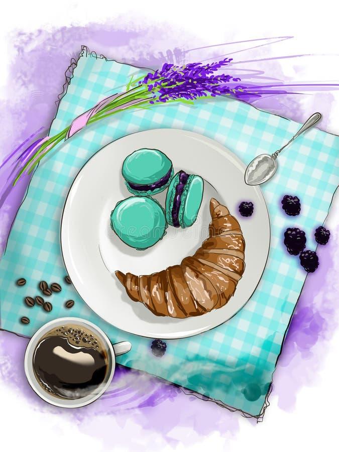 Wciąż życie śniadanie z croissant, macaroons, kawą i lawendą, ilustracji