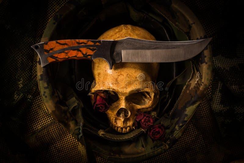 Wciąż życie żołnierza czaszka fotografia royalty free