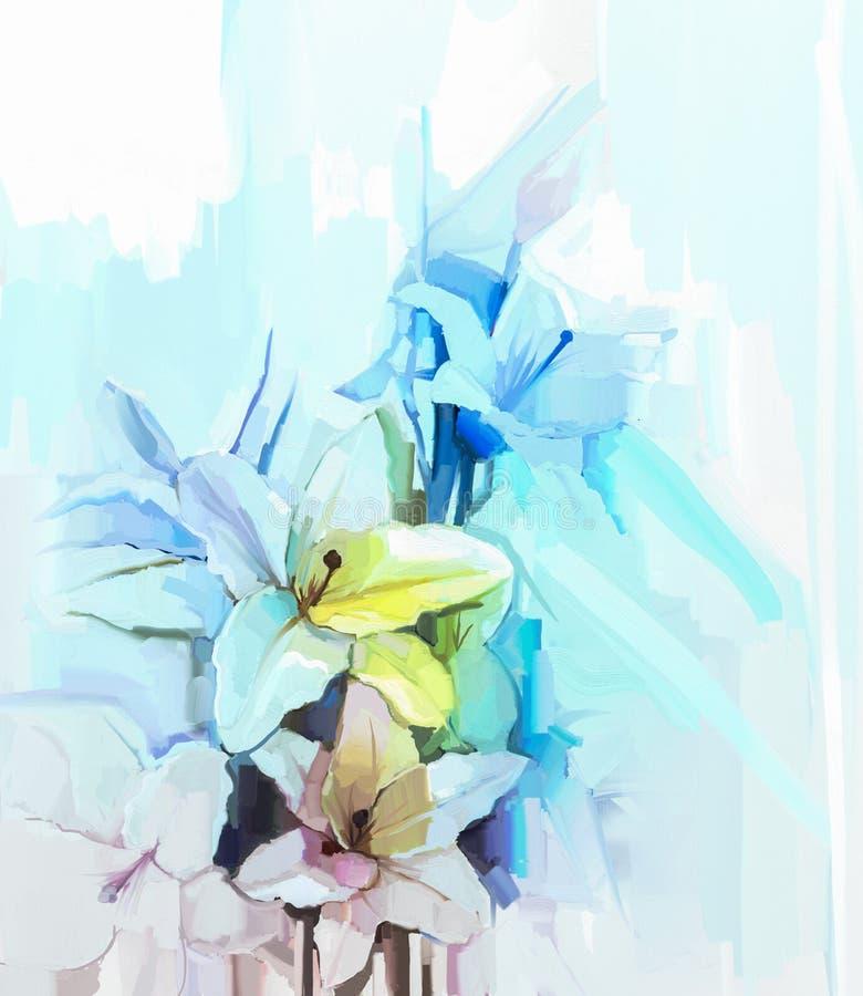 Wciąż życie biali kolorów kwiaty z miękkiej części różowym i błękitnym backgr ilustracja wektor