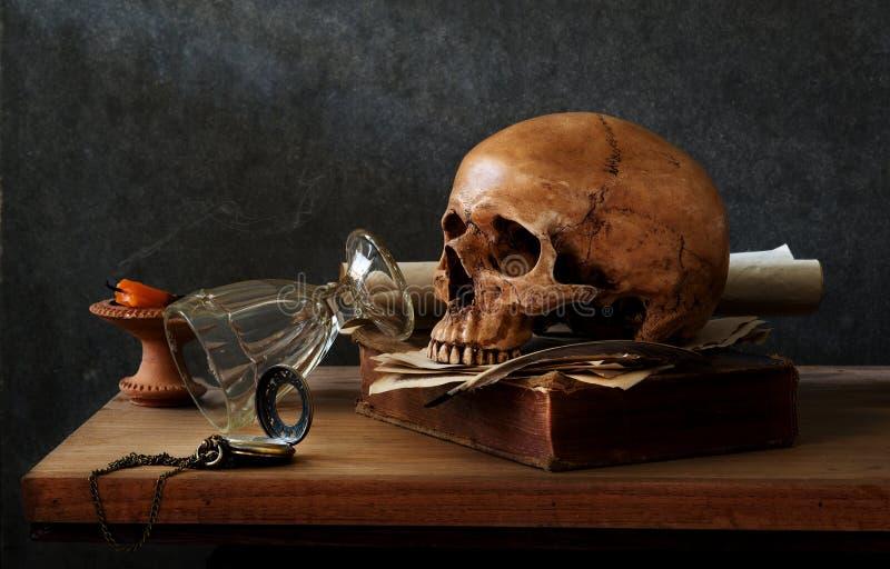 Wciąż życie czaszka fotografia stock