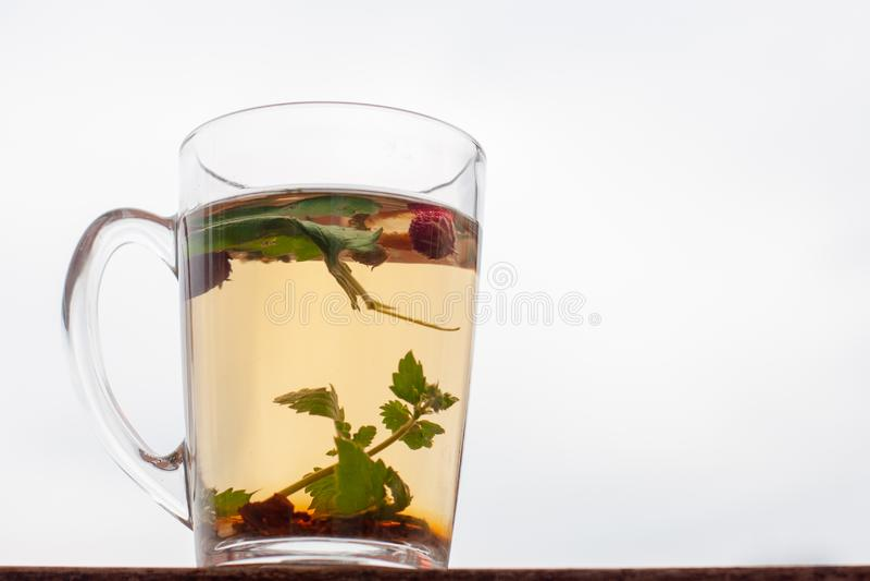 Wciąż życie filiżanka z ziołową herbatą Truskawka opuszcza i jagody są spławowe w filiżance Biały niebo na tle obrazy royalty free