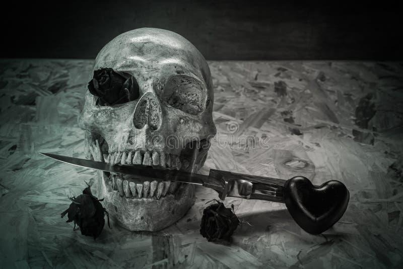 Wciąż życie miłości czaszka zdjęcie stock