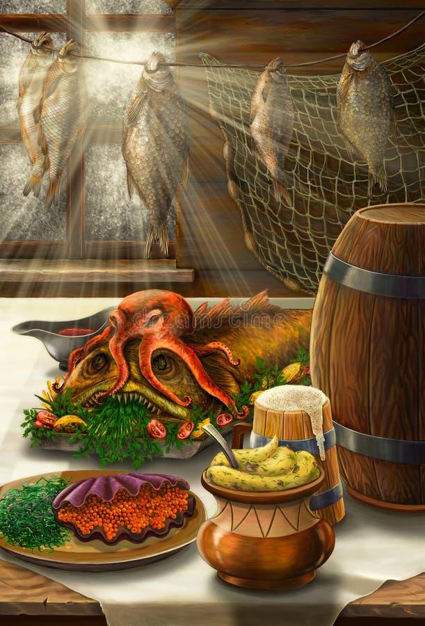 Wciąż życie na dennym temacie z jedzeniem royalty ilustracja