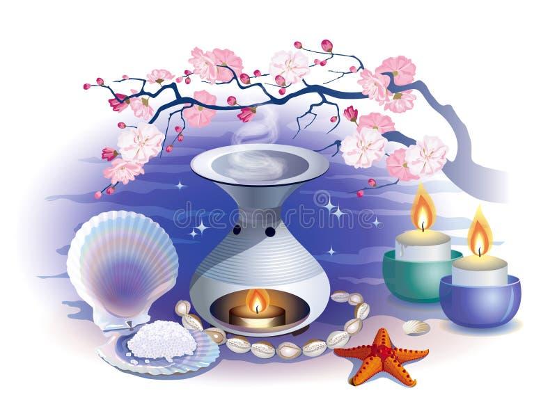 Wciąż życie na temacie zdrój z aromatherapy lampą ilustracji