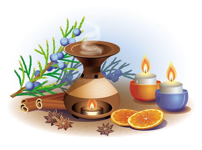 Wciąż życie na temat aromatherapy z pomarańcze i cinnam ilustracji
