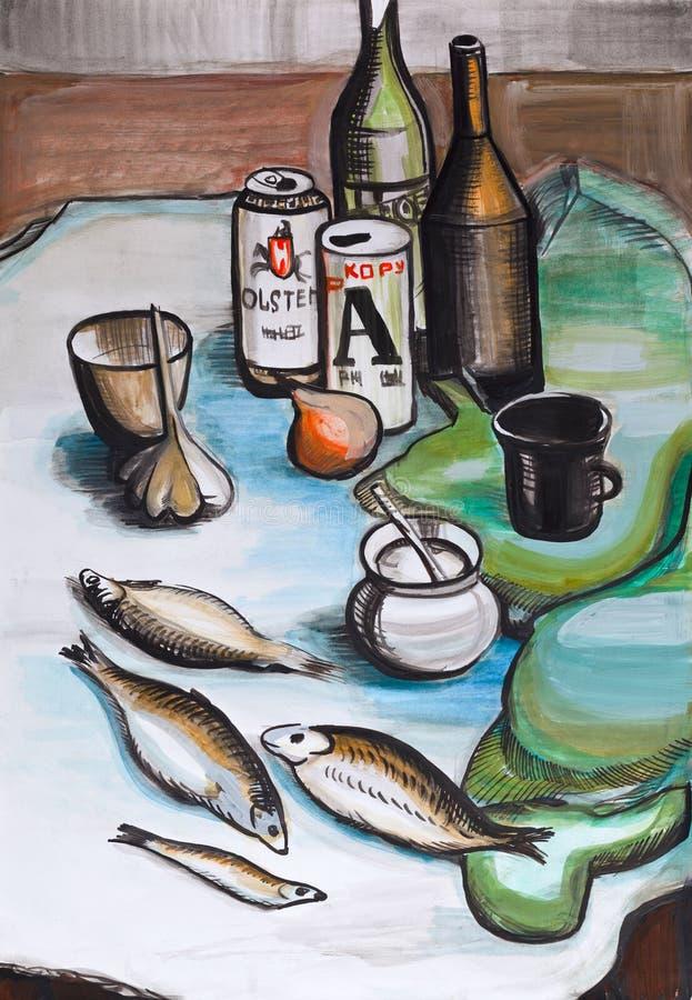 Wciąż życie z ryba royalty ilustracja