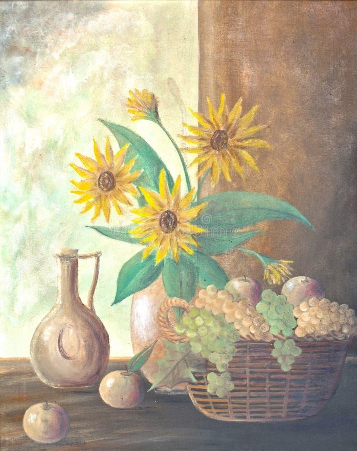 Wciąż życie obraz słonecznik w wazie z koszykowy pełnym jabłka i winogrono zdjęcia stock